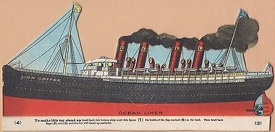 Trade Card-Lion Coffee-Woolson Spice Co of Toledo, OH-Diecut Ocean Liner
