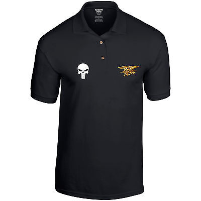 US Navy SEALS United States Army Special Forces Punisher Skull Mens Polo Shirt