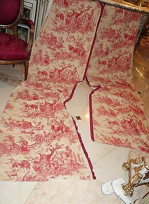 """Pair Antique French Toile Panels Drapes Curtains 8'9"""" Tall Mother Children Sheep"""