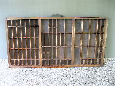 Antique Type Tray HAMILTON Printers' Drawer 89 Sections Shadow Box Metal Handle