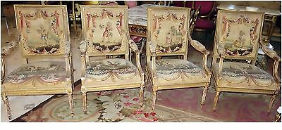 FRENCH ANTIQUE AUBUSSON 4 CHAIRS & MATCHING SOFA c.1800's w SWAG DRAPES CHILDREN