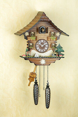Cuckoo clock with Deer, cuckoo, Black  forest, Wood dial, Made in Germany 436Q