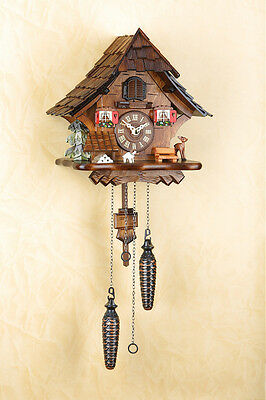 Cuckoo Clock with 12 Melodies, Black Forest, Night-Time Shut-Off,