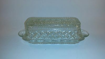 Vintage Crystal Cut Glass Butter Dish With Lid