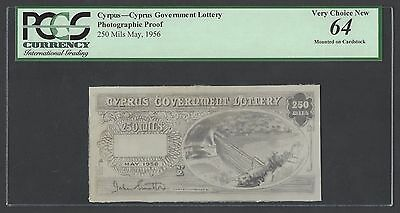 Cyprus Government Lottery 250 Mils May 1956 Proof Uncirculated