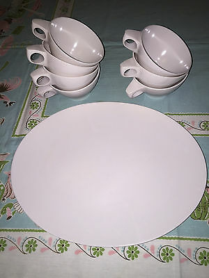 White Vintage Melamine Platter and 7 cups Boonton Ware - Excellent!