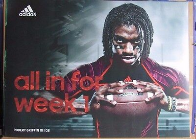 """Robert Griffin Iii 35X47 Adidas """"all In For Week 1"""" Used Display Sign"""
