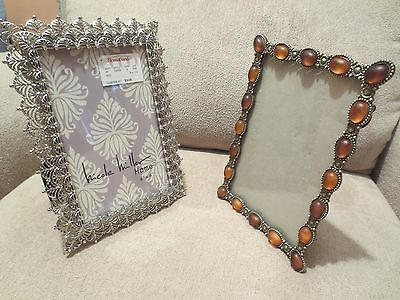 """Lot Two Jeweled Photo Picture Frame Gold and Silver Tone Filigree 6"""" x 4"""" Photo."""