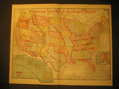 Map Of United States Territorial Growth Color Lith 1895
