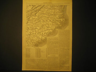 Map of Virginia & Carolina's Engraving 1865