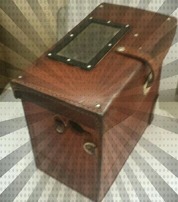 Brown Leather Mysterious Jewellery Vintage Box, Rare Cute Case With Straps