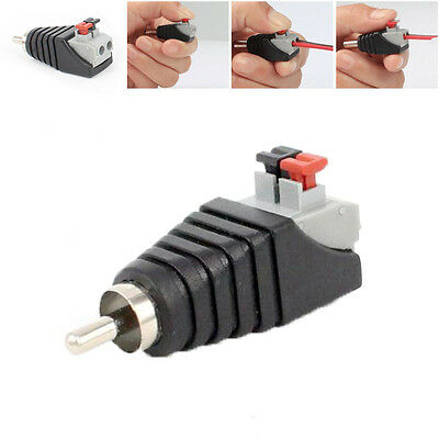 1/2pc Speaker Wire A/V Cable to Audio Male RCA Connector Adapter Jack Press Plug