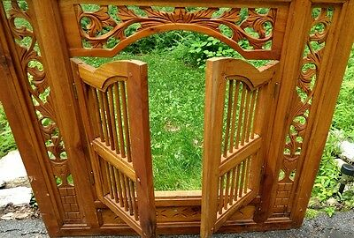Asian Art Hand Carved Wood Window Shadow Puppet Theatre Show Mirror Frame 2Doors