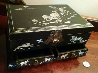 Asian Antique Black Lacquer Cigar Cigarette Betel Nut Box Mother of Pearl Inlay