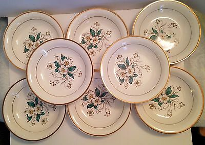 Vintage Set of 8 Knowles China White Rose Soup Bowls USA