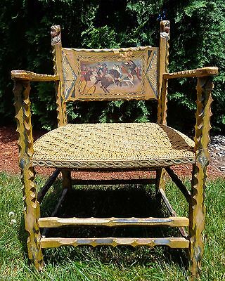Sicilian Early 20Th C. Antique Folk Art Hand-Carved/decorated Wooden Arm Chair