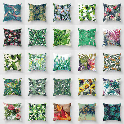Green Leaf Cotton Linen Cushion Cover Throw Pillow Case Sofa Home Decoration 18""