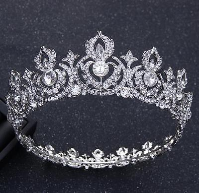 Silver Wedding Bridal Full Crown Rhinestone Tiara Headpiece Hair Jewelry Pageant