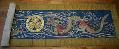 Large Antique Japanese Late 19th,c.Silk Embroidery Panel with Dragon Design