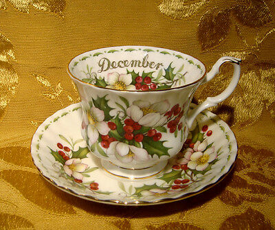 Royal Albert *christmas Rose* December Tea Cup & Saucer Flower Of The Month