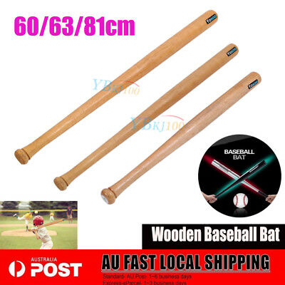 Wooden Baseball Bat 60/63/81CM Self - Defense Family Safety Exercise Sports AU