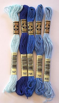 DMC EMBROIDERY THREADS - STRANDED COTTONS - CHOICE OF 747 797 798 799 or 800
