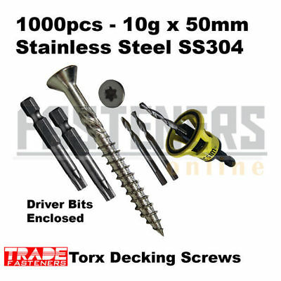 1000pcs - 10g x 50mm Stainless SS304 Torx Head Decking Screws + Macsim Clever To