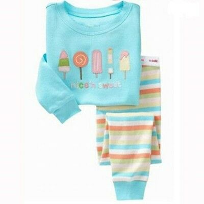 Girls sleepwear Popsicles Long sleeves Cotton pajamas set cozy Breathable home