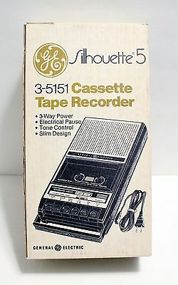 Vtg General Electric GE Cassette Player Tape Recorder Silhouette 5 Model 3-5151