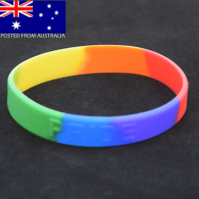 Gay Lesbian Pride Embossed Rainbow Colour Silicone Wristband Bracelet