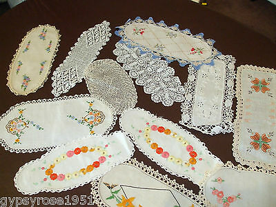 12 Vintage Hand Embroided Doilies/Sandwich Tray
