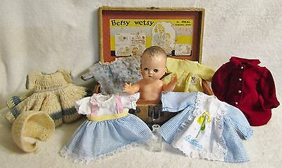 "1948 Betsy Wetsy Doll 12"" - Orig: Gown, Undershirt, Booties, Bottle, Luggage"