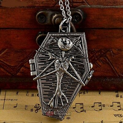 Nightmare Before Christmas Skeleton Coffin Black Necklace Pocket Watch + Gift