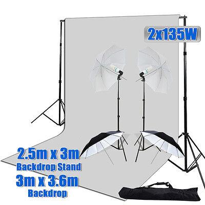 1620W Photo Studio Umbrella Lighting Light White Muslin Backdrop Stand Kit Set