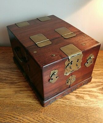 SUPERB CHINESE/ORIENTAL TRAVEL JEWELLERY/VANITY CHEST WITH SECRET DRAWERS c1870