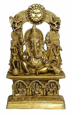 Brass statue of temple ganesh handicrafts product by BharatHaat™BH01064