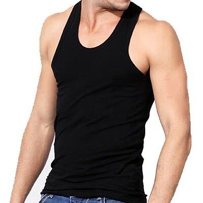 3-6 Packs Mens 100% Cotton Tank Top A-Shirt Wife Beater Undershirt Ribbed Black