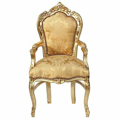 Sublime Gold Baroque Armrest Dining Room Chair Gold Wooden Frame Gold Fabric