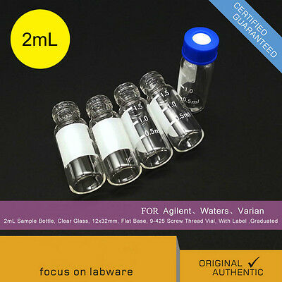 100Pcs/pack 2ml 9-425 HPLC GC (Bottle+Cap) Lab Bottle Glass For Agilent Shimadzu