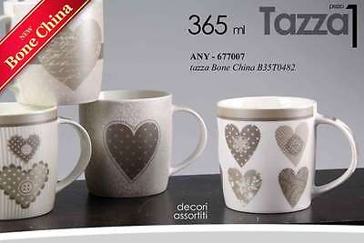Tazza Mug Bone China Decoro Cuore 365 Ml Decori Assortiti Any-677007