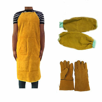 Welder split leather apron Thermal protection Fireproof Sleeves gloves Thickened