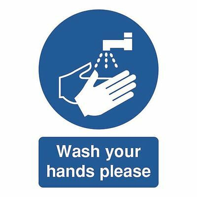 Safety Sign Wash Your Hands Please A5 Self-Adhesive MD05851S [SR11223]