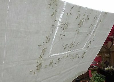 Beautifully Embroidered Linen Tablecloth Antique Wedding Bow Banquet 2