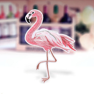 Flamingo Bird Embroidered Sew On Iron On Patch Badge Dress Fabric Applique Craft