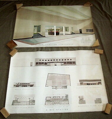 Bus Station English Art Deco Mid Century Architectural Drawing 2 Pieces