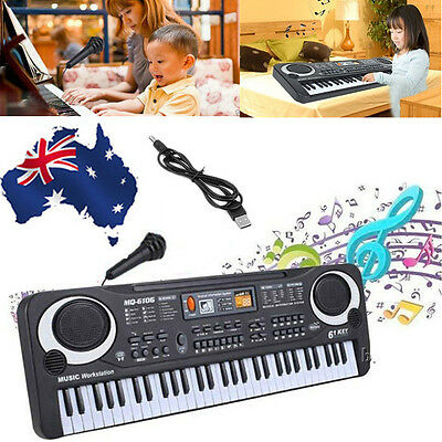 Kids 61 Key Digital Electronic Keyboard & Microphone Electric Piano Organ Gift