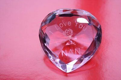 """Engraved Pink Crystal Heart, """"I LOVE YOU NAN"""" With Rose, Heart Measures 5 x 5 x"""