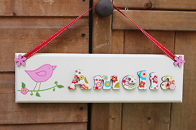 Girls bird and floral sign / name plaque