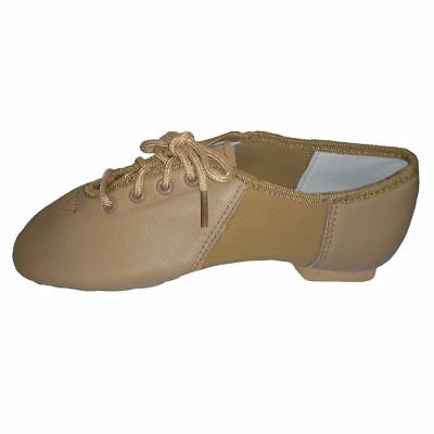 GENUINE PREMIUM LEATHER BOYS GIRLS ADULTS JAZZ HIP Hop SHOES TAN BLK