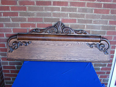 Large Antique Oak / Crown / Pediment/ Header Wall Coat Rack